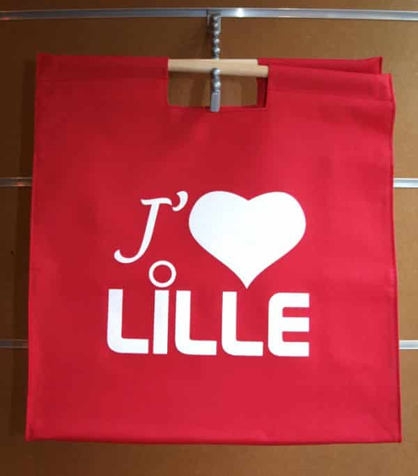 Sac shopping j'aime Lille rouge
